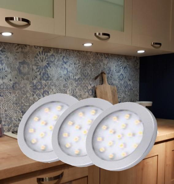 LED Unterbauleuchten rund Alu-silber Set mit Stecktrafo