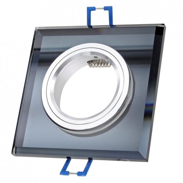 Einbaurahmen Einbaustrahler Glas schwarz eckig mit GU10 Fassung
