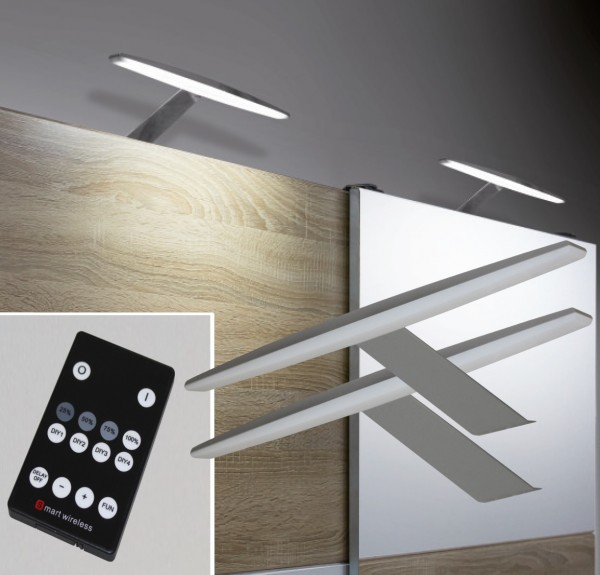 LED Aufbauleuchten Alu 3000K / 6000K Set mit Funkfernbedienung