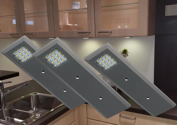 LED Unterbauleuchten 3000K Alu-silber Set mit Trafo