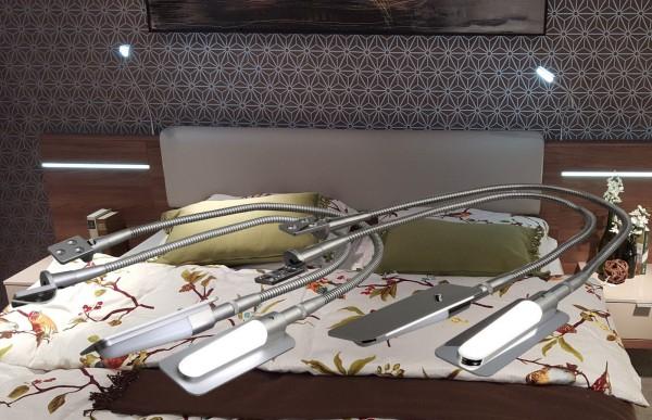 2X LED Bettleuchte Set mit Trafo Chrom / Alu-silber Leseleuchte Bettlampen