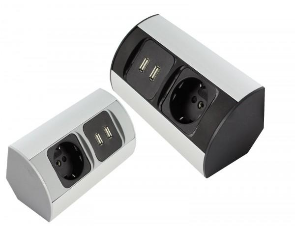 Corner-Box für Schrank Powerbox 230V x Steckdose / 2x USB mit Kabel