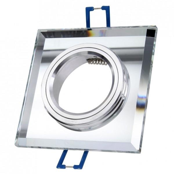 Einbaurahmen Einbaustrahler Glas eckig mit GU10 Fassung