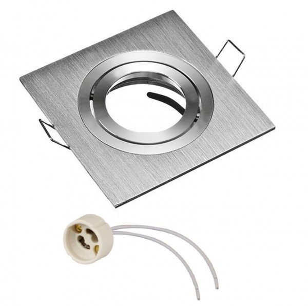 Einbaurahmen Einbaustrahler eckig Aluminium gebürstet mit GU10 Fassung