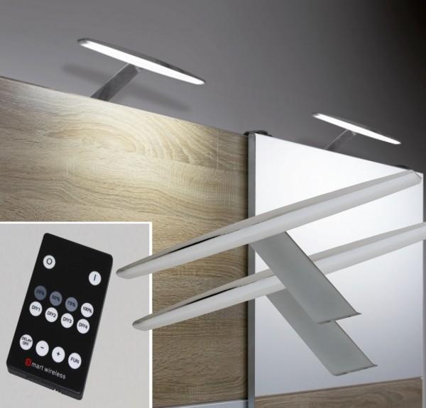 LED Aufbauleuchten Chrom 3000K / 6000K Set mit Funkfernbedienung