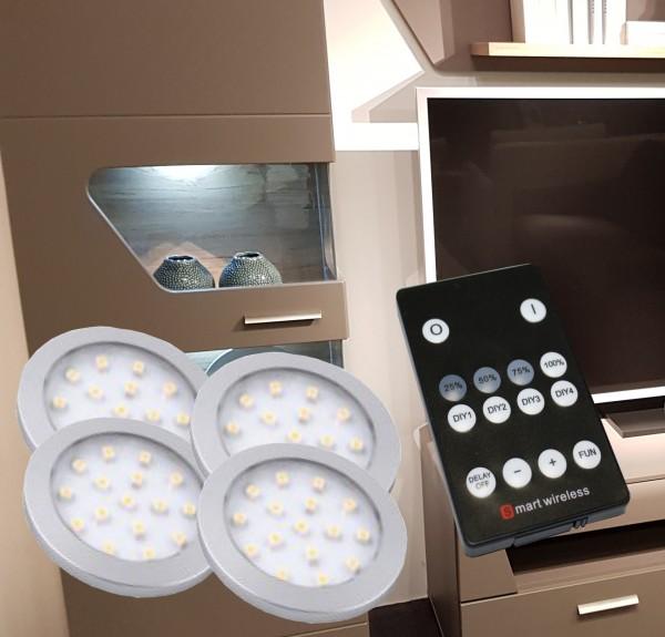 LED Unterbauleuchten rund Alu-silber Set mit Funkfernbedienung