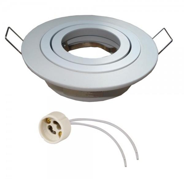 Einbaurahmen Einbaustrahler rund weiß gebürstet mit GU10 Fassung