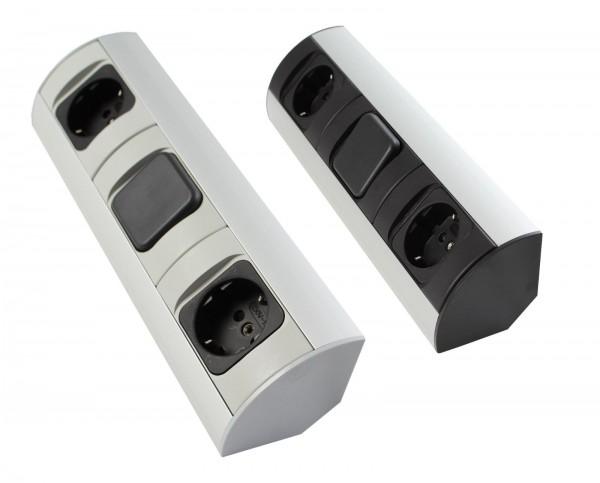 Corner-Box für Schrank Powerbox 230V 2x Steckdose / 1x Schalter mit Kabel