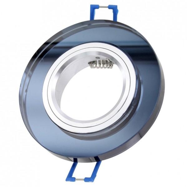 Einbaurahmen Einbaustrahler Glas schwarz rund mit GU10 Fassung