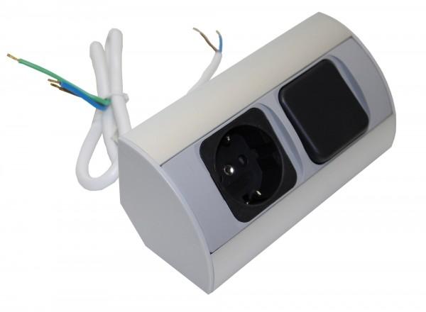 Kombi-Box Corner-Box 1x Steckdose, 1x Schalter 230Volt
