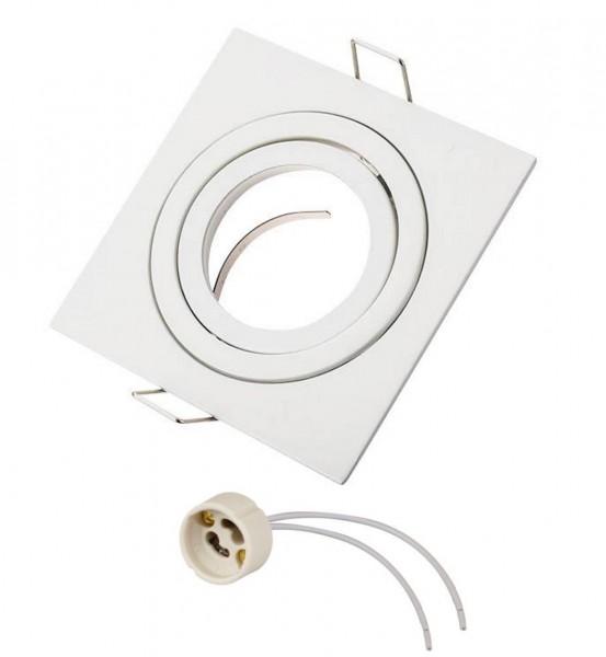 Einbaurahmen Einbaustrahler eckig weiß gebürstet mit GU10 Fassung