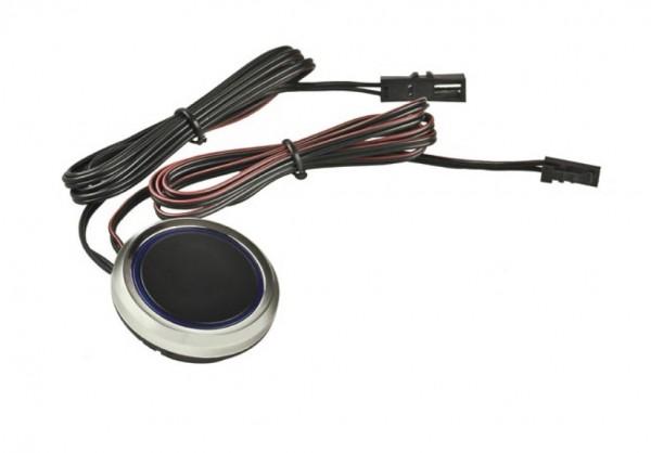 Druckschalter Dimmer Schalter 12V für die Einbaumontage schwarz/chrom