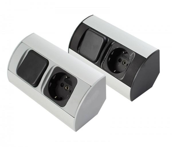 Corner-Box für Schrank Powerbox 230V Steckdose / Schalter mit Kabel