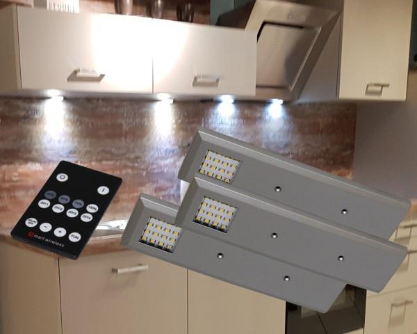 LED Unterbauleuchten 3000K Alu-silber Set mit Funkfernbedienung