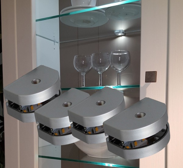 LED 3-Seiten Glasbodenbeleuchtung Glaskantenbeleuchtung Set mit Trafo
