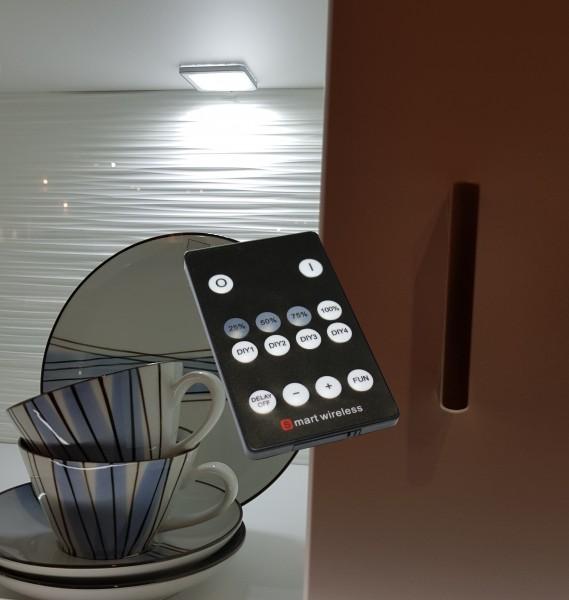 LED Unterbauleuchten eckig Alu-silber Set mit Funkfernbedienung