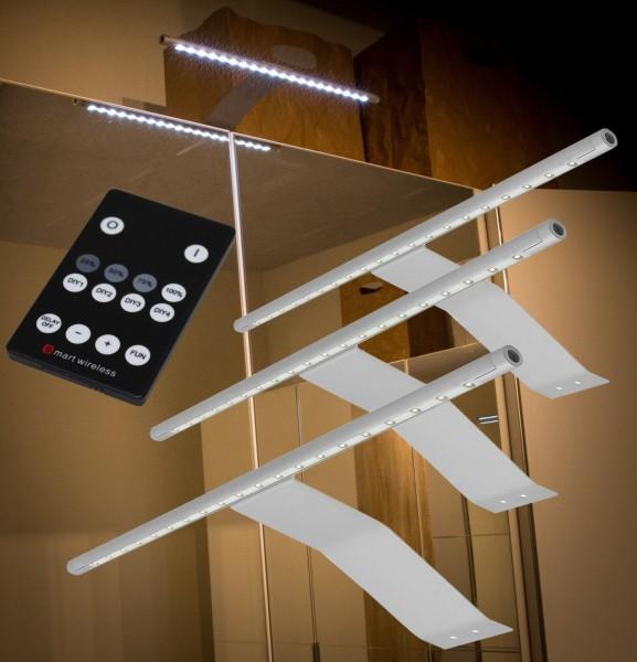LED Aufbauleuchten 3000K Alu-silber Set mit Funkfernbedienung