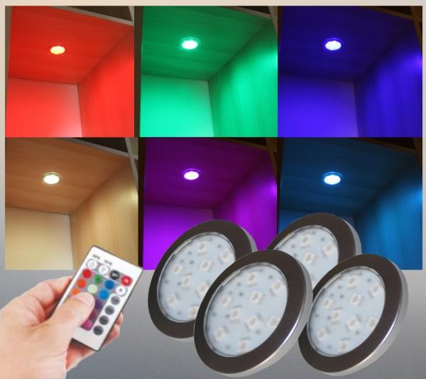 LED RGB Unterbauleuchten Schrankleuchten rund Set mit Steuerung