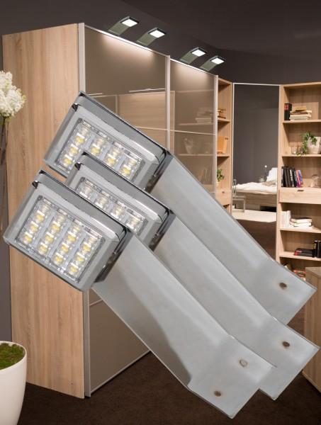 LED Aufbauleuchten 3000K Chrom Set mit Trafo