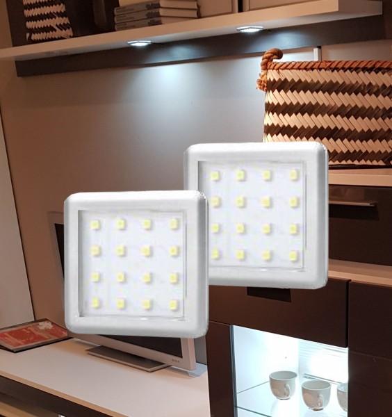 LED Unterbauleuchten eckig Alu-silber Set mit Stecktrafo