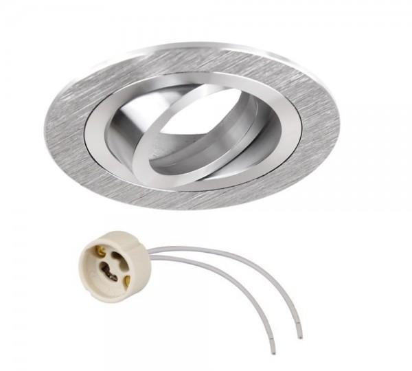 Einbaurahmen Einbaustrahler rund Aluminium gebürstet mit GU10 Fassung